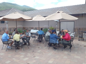 Enjoying lunch on the patio at Boxwood Gulch Ranch